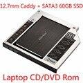 Zheino SATA 60GB 120GB 128GB 256GB SSD + Aluminum 12.7mm Laptop 2nd Sata SSD HDD Frame Caddy Adapter Bay CD/DVD-ROM Optical