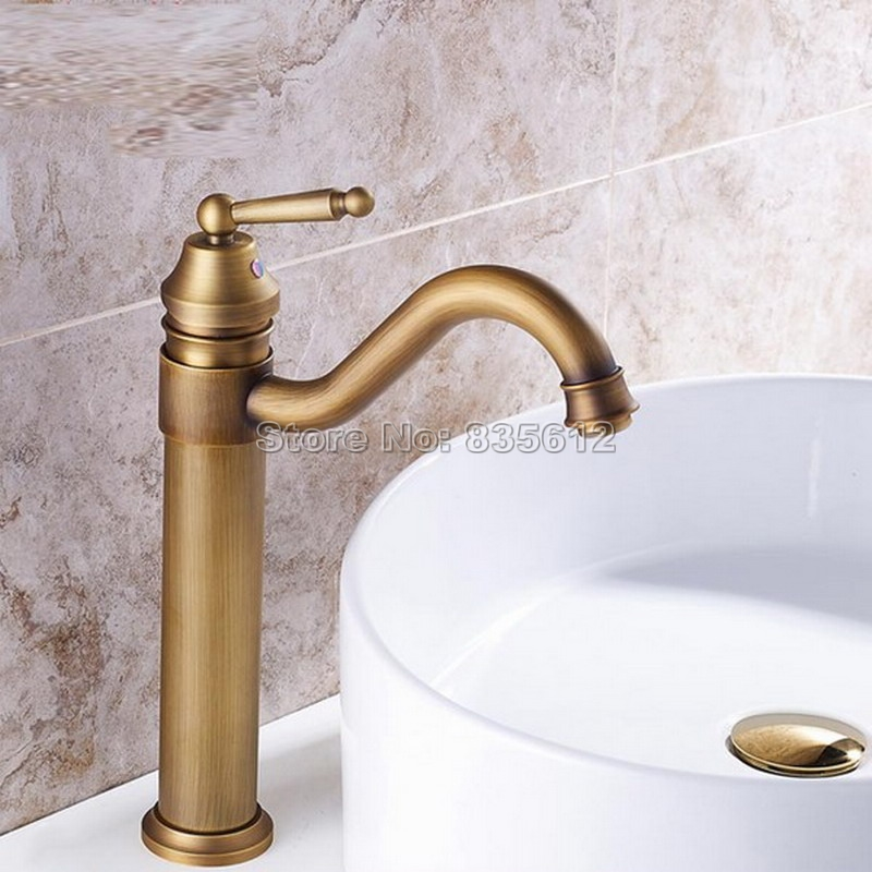 цена на Antique Brass Swivel Spout Kitchen Sink Water tap / Single Handle Basin Faucet Deck Mounted Single Hole Wnf215
