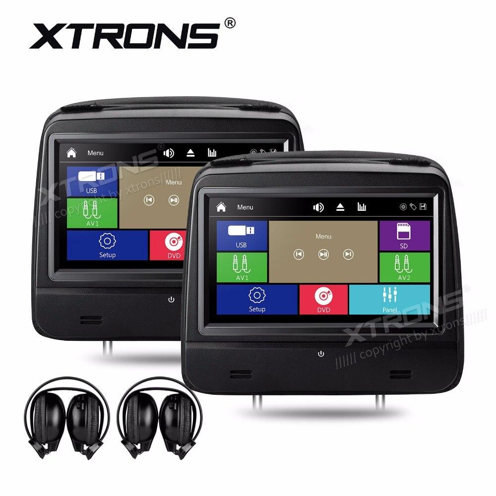 XTRONS 8 HD 1280*720 Digital Touch Screen Leather Cover Car Headrest DVD Player Monitors 1080P FM IR+2 IR Wireless Headphones