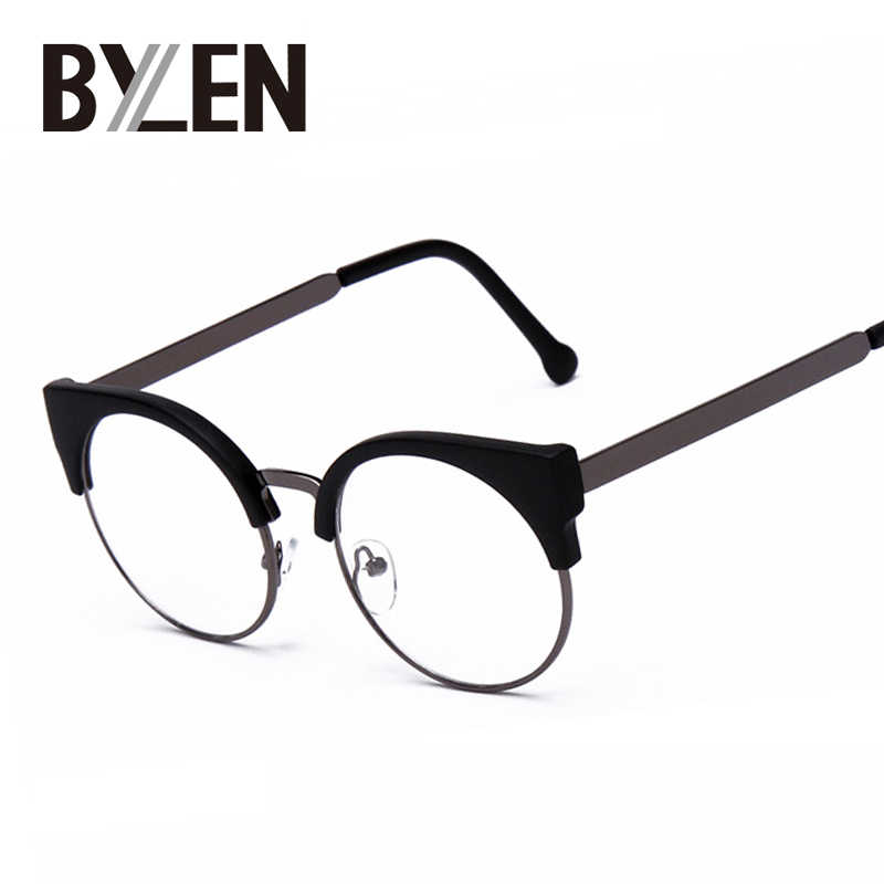 31c9f8431d Women Cat Eye Plain Glasses Half Frame Clear lens Round Eyeglasses Sexy Cat Eye  Vintage Glasses