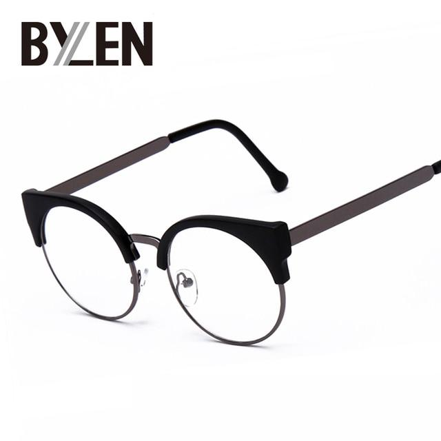 b74338907d146 Olho de Gato mulheres óculos Simples Óculos De Meia Armação Óculos de lente  Clara Rodada Sexy