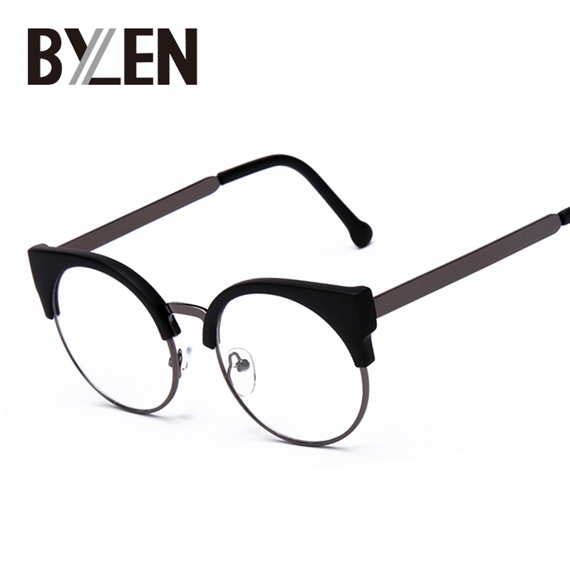Women Cat Eye Plain Glasses Half Frame Clear lens Round Eyeglasses Sexy Cat Eye Vintage Glasses Frames Brand Designer Eyewear