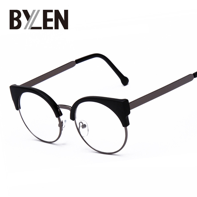 06dea236498 Women Cat Eye Plain Glasses Half Frame Clear lens Round Eyeglasses Sexy Cat  Eye Vintage Glasses