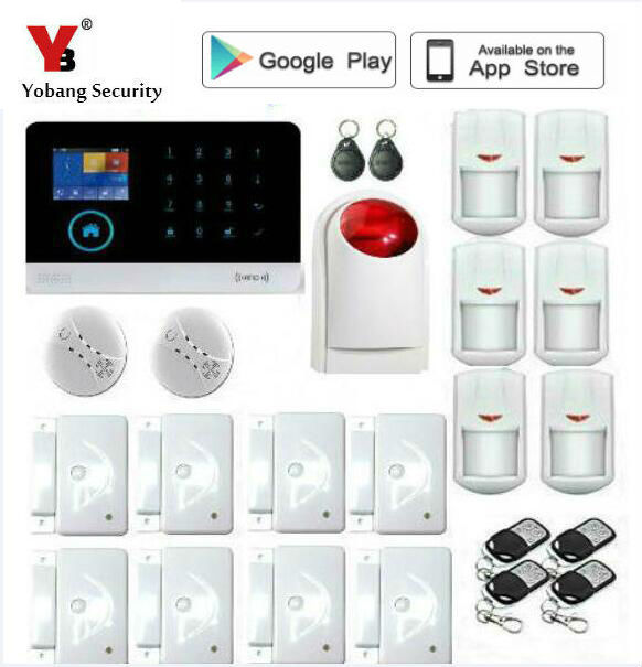 Best Offers Yobang Security 433mhz WIFI GSM alalrm system Touch keypad IOS Android APP control Home Security Alarm System/ wireless siren