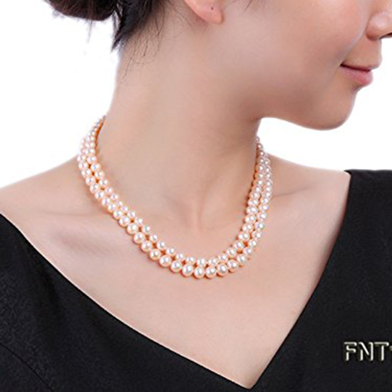 JYX Necklace Set Natural 7-8mm Pink Pearl very round Freshwater Pearl Necklace and Bracelet 17 women jewelry Christmas gift jyx pearl wedding jewelry set 7 7 5mm white flat round freshwater pearl necklace
