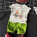 2016 Nuevo Verano Coreano Niños Ropa Conjunto de Dibujos Animados Lindo Conejito impresión Rayada Camiseta Traje Pantalón Casual 2 UNIDS de Regreso A La Escuela Outfit