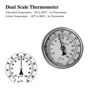 """Image 4 - Weldless Bi metal Thermometer Kit, 3""""Face & 2""""Probe, 1/2""""MNPT, 0~220F degree, Beer Brewing Thermometer, Homebrew Kettle Bar Tool"""