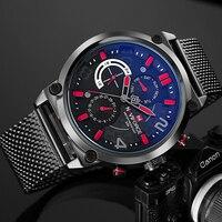 NAVIFORCE Stainless Men Watch Mesh Band Six Watch Hands Mens Fashion Casual Quartz Wristwatch Business Luxury