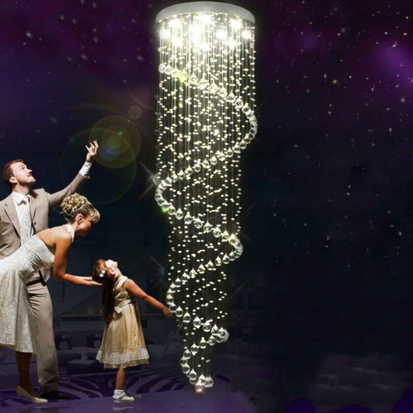 Moderne simple Fer escalier en colimaçon led long Pendentif Lumières pendentif en cristal lampe AC85v-260v E14 lustre lampe de chambre à coucher plafonnier