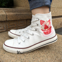 Wen White Canvas Shoes Design Cupcakes High Top Sneakers for Women Girls Christmas Birthday Gifts