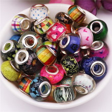 50pcs New Mix color big hole beads charms spacer murano bead fit for original Pandora bracelet bangle DIY jewelry Making
