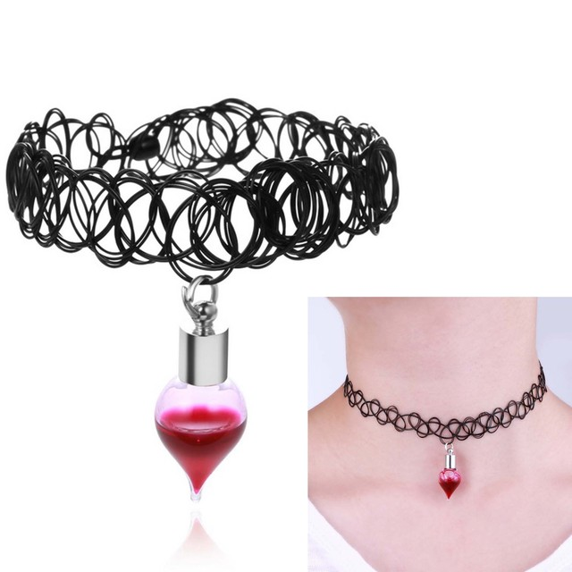 Gothic vintage style black choker vampire blood vial necklace with gothic vintage style black choker vampire blood vial necklace with glass wish drop pendant necklace for mozeypictures Image collections