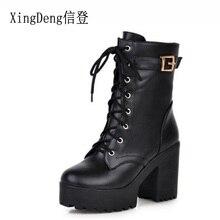 XingDeng Plus Size 33-43 Lady Belt Buckle Ankle Shoes Women