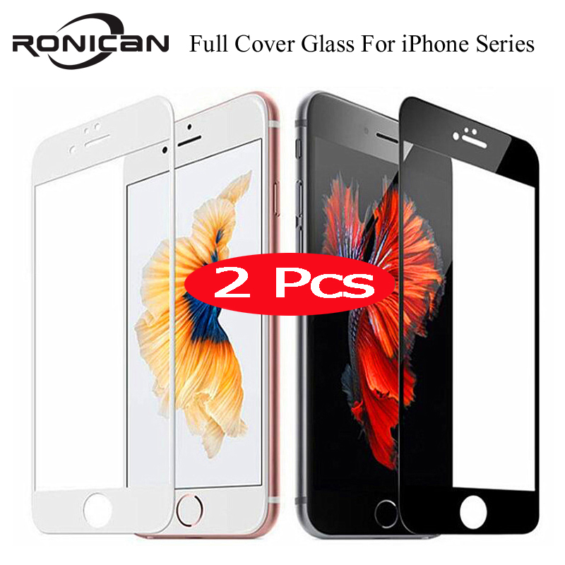 2Pcs 9H Full Cover Tempered Glass For IPhone 7 8 Plus X XS Max XR 5 5s 6 Screen Protector Protective Film For IPhone 11 Pro Max