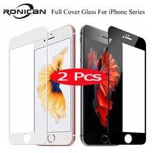 2Pcs 9H ฝาครอบกระจกนิรภัยสำหรับ iPhone 7 8 PLUS X XS MAX XR 5 5 S 6 หน้าจอป้องกันฟิล์มสำหรับ iPhone 11 PRO MAX