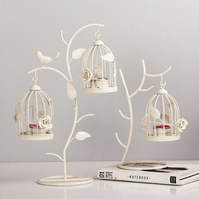Modern European Style Tree Branch Birdcage Candlestick Home Decor Iron Hanging Lantern Candle Lamp Christmas Wedding