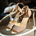 2017 summer new shoes hollow fish head sandals silver fine heels with heeled shoes