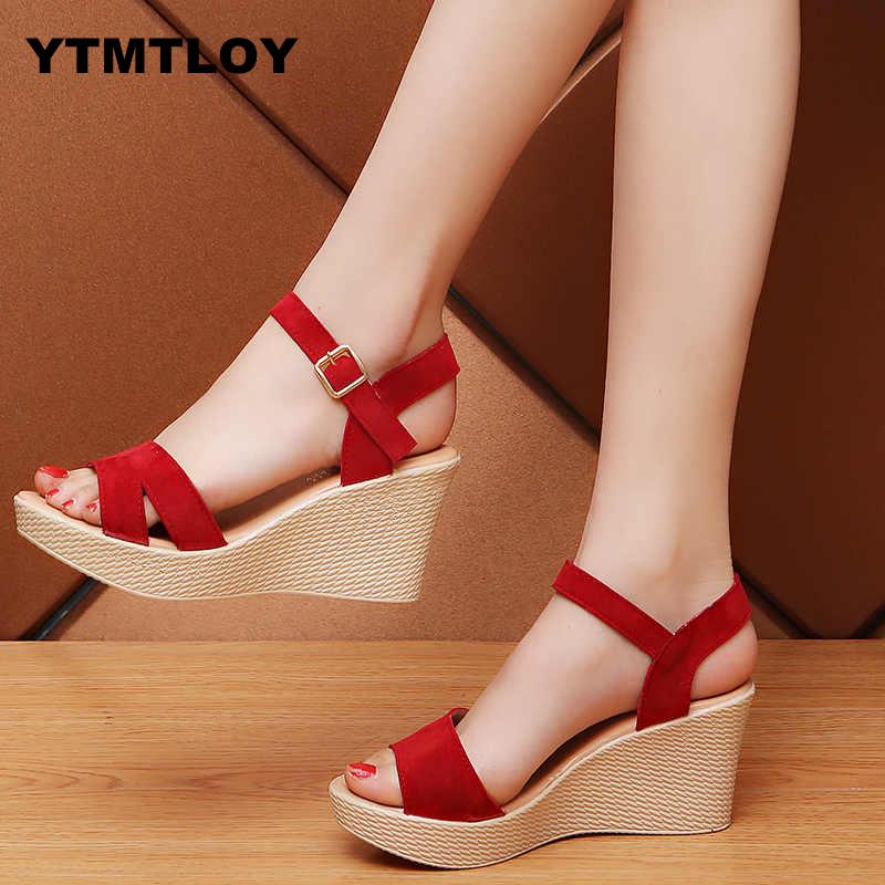 Sandals Fashion Wedge-Shoes Buckle High-Heels Gladiator Platform Women Summer