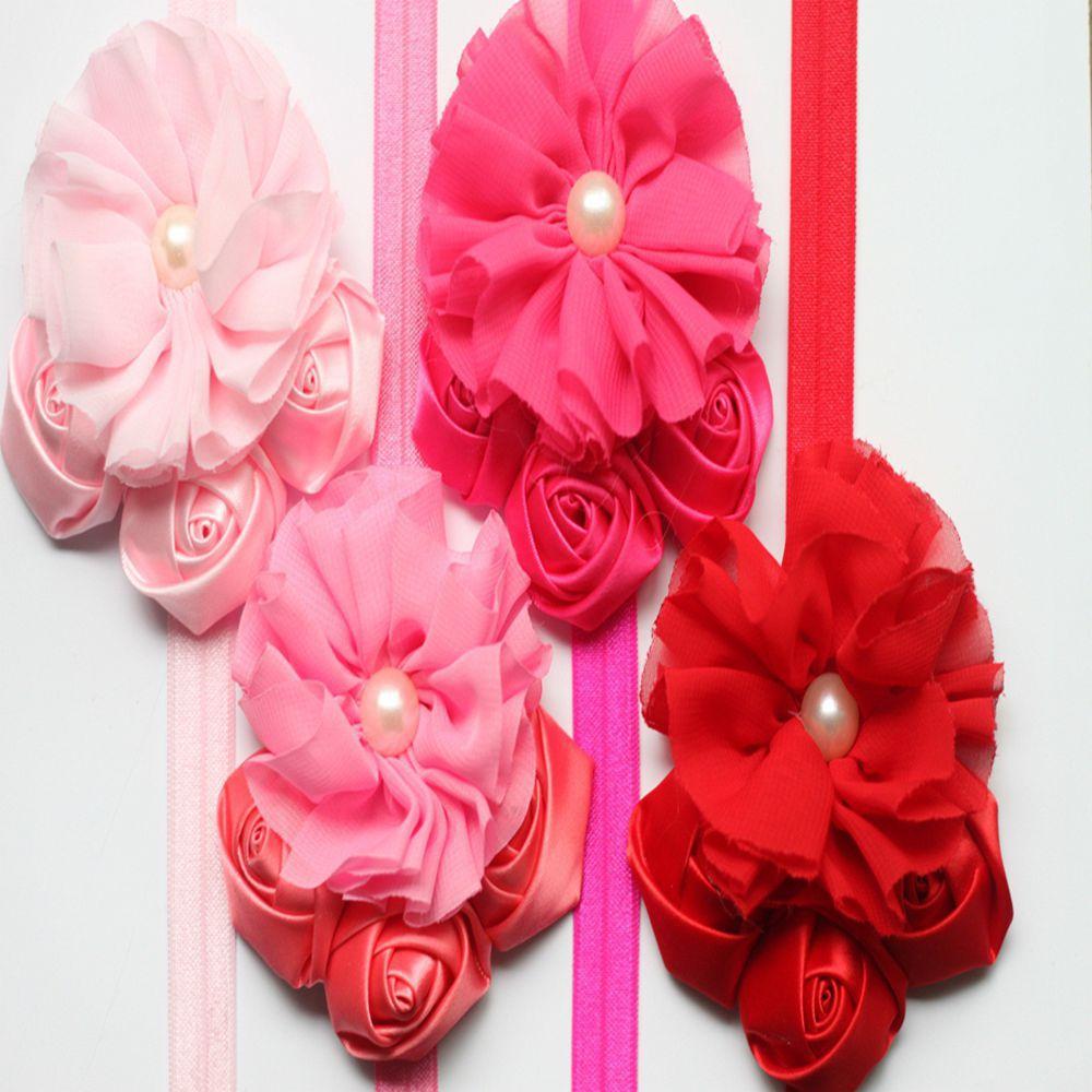 ᗖLos niños del pelo accesorios del bebé vendas paquete corazón rosa ...