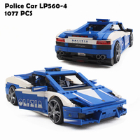 Model Building Blocks Compatible with legoings Race Lamborghiki Police Car LP560 4 8214 Policeman Educational Toys For Children