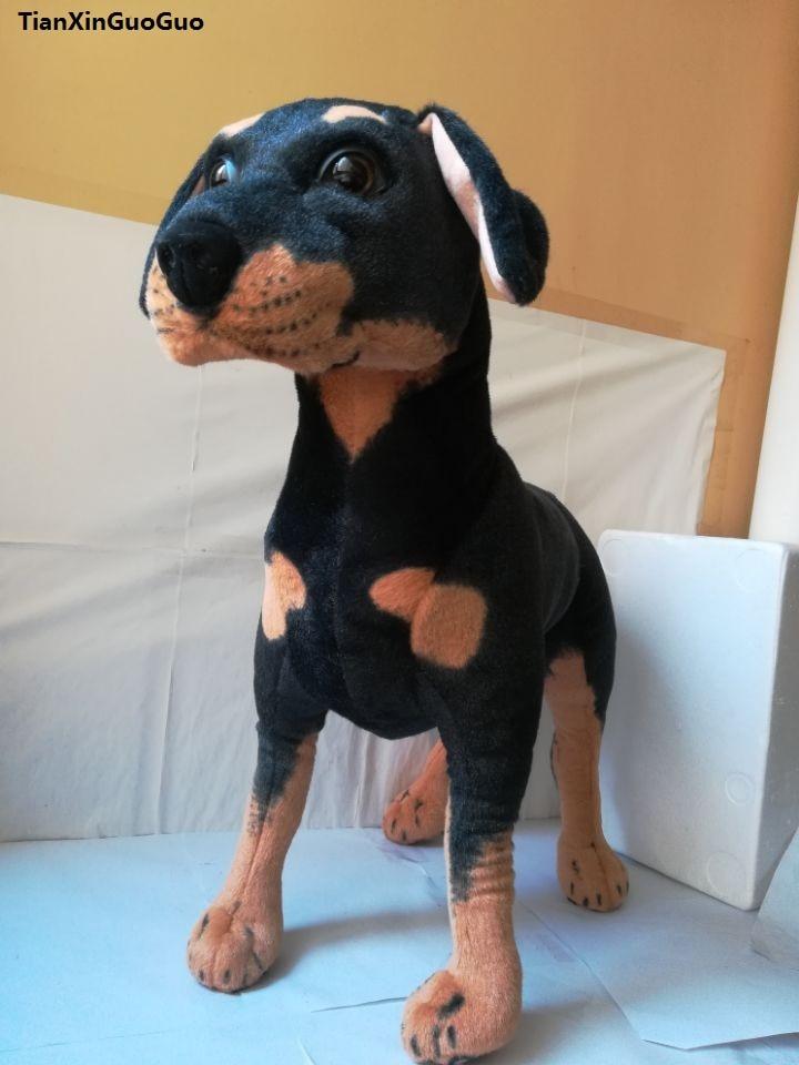 Grand 60x55 cm simulation Rottweiler chien en peluche jouet pose de position de Rottweiler poupée De Noël cadeau b2501