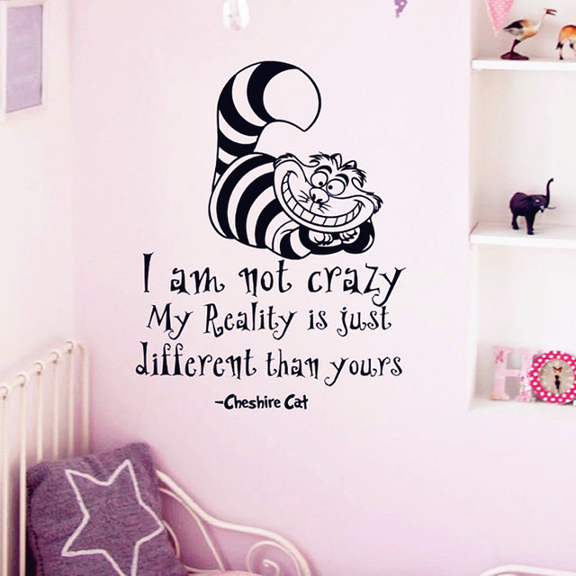 Alice in wonderland wall sticker cheshire cat quotes i am not crazy
