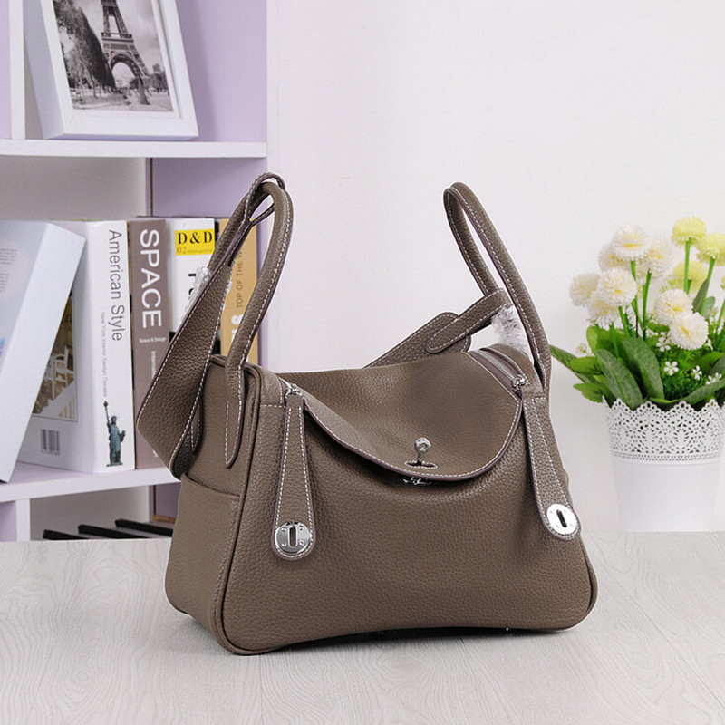 2017 Fashion Real Genuine Leather OL Style Women Litchi Grai