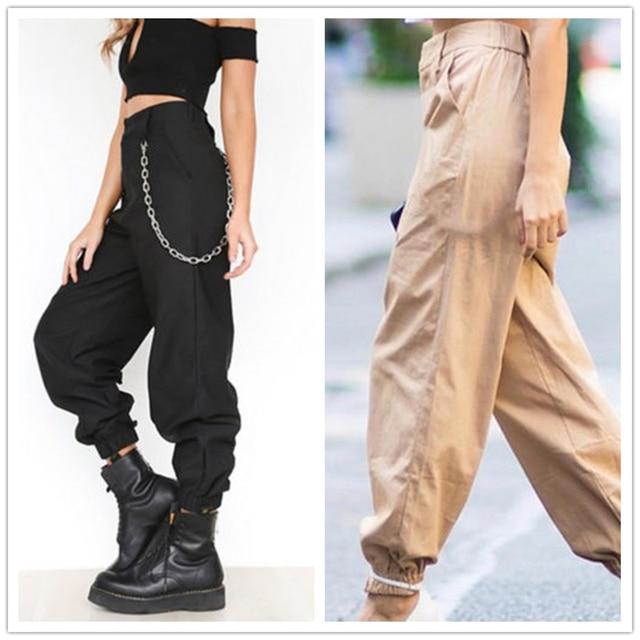 49274577ff2 Fashion Streetwear Cargo Pants Women Casual Joggers Black High Waist Loose  Female Trousers Korean Style Ladies Pants Capri