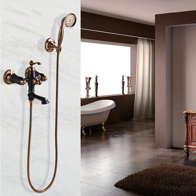 Robinet de baignoire ensemble de douche dans le type de mur robinet chaud et froid cuivre or rose noir robinet ancien
