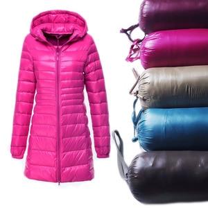 Image 1 - S ~ 6XL רזה מעיל 2017 נשים סתיו החורף חדשות ירידות הברווז מעיילי גבירותיי מעיל ארוך עם ברדס בתוספת גודל אולטרה הלבשה עליונה אור AB038