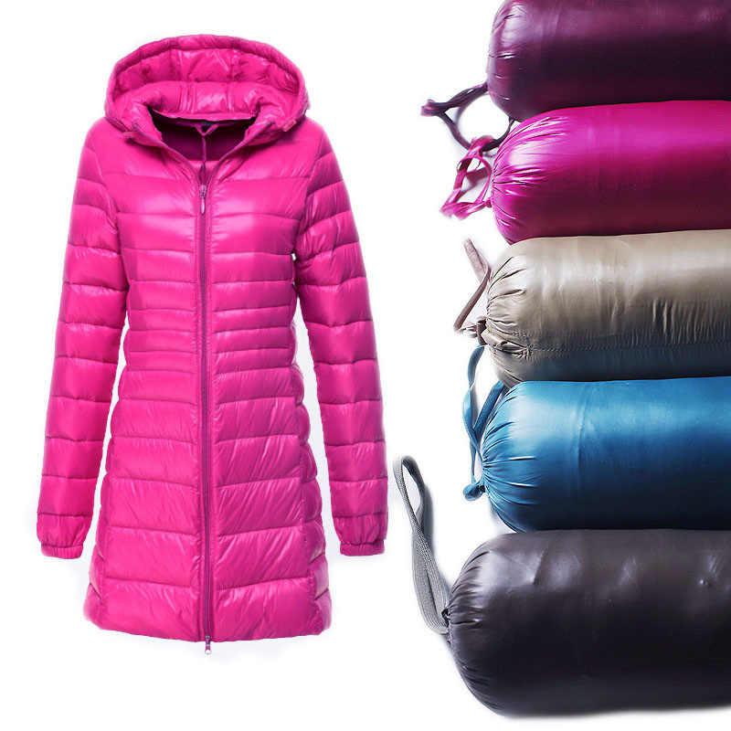 S ~ 6XL Новинка 2017 года осень-зима Для женщин утка куртка-пуховик тонкий парок дамы пальто с капюшоном плюс Размеры Ultra Light верхняя одежда AB038