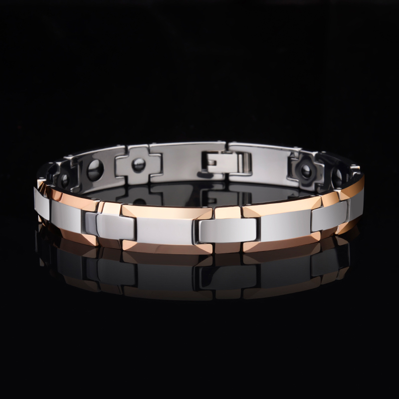 2019 Hot Selling Japan Korean 8mm/10mm Width Rose Gold Tungsten Chain Bracelets for Men Women Inlay Health Magnetic Stone