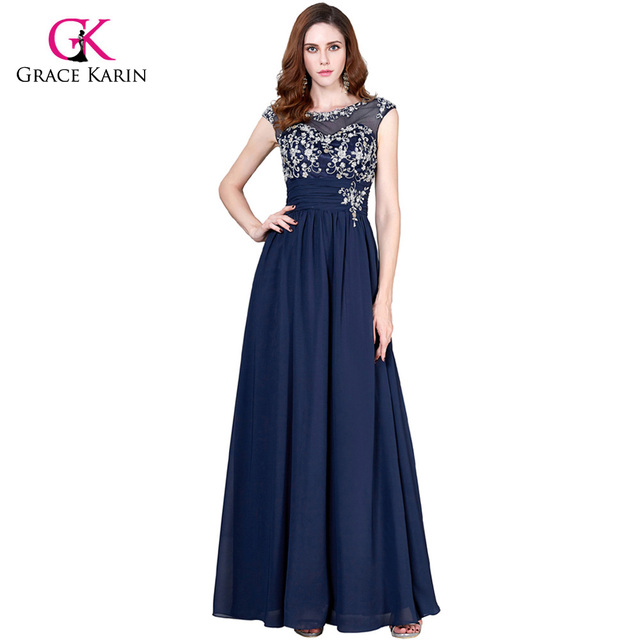 Grace Karin Navy Blue Mother Of The Bride Dresses For Wedding Party Chiffon Special Occasion
