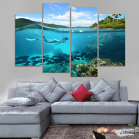 Printed Modular Fishes Picture Large Canvas Painting Framework 4 Panel Diving For Bedroom Living Room Home Wall Art Decor