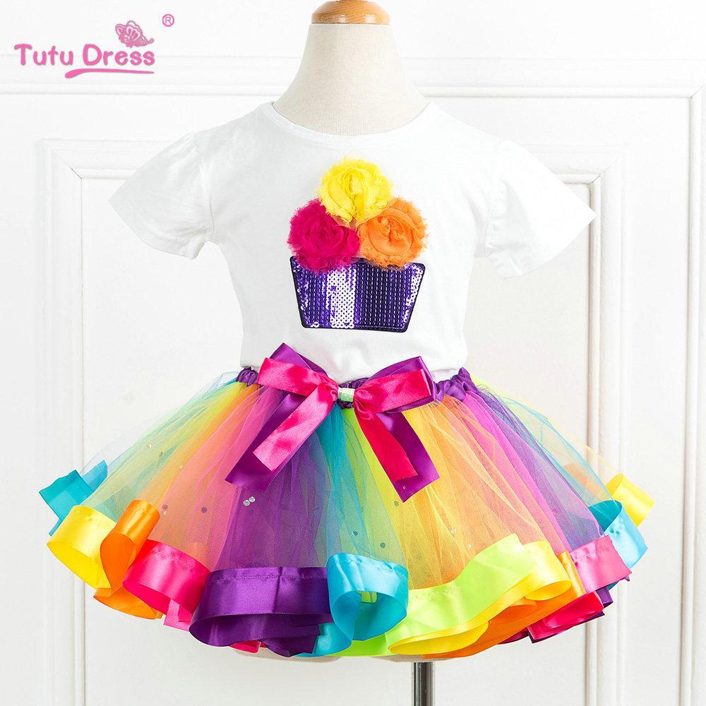 Летние комплекты одежды для девочек; хлопковая футболка с короткими рукавами и радужными блестками; юбки-пачки для дня рождения; детская одежда для девочек; комплект из 2 предметов - Цвет: As photo