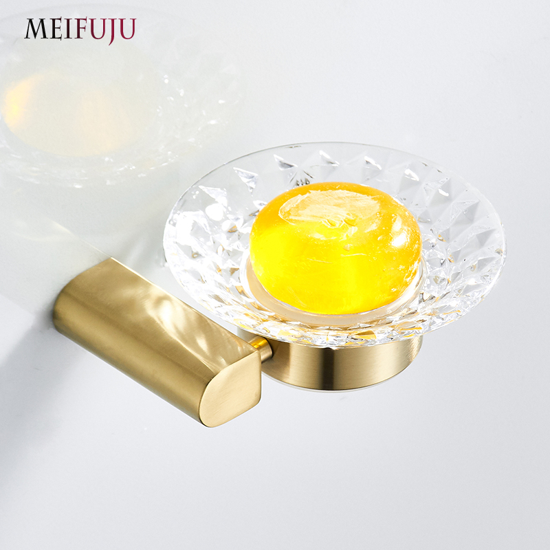 Brushed Glass Soap Dish Holder Gold Soap Dishes 304 Stainless Steel Wall Mounted Soap Box Bathroom
