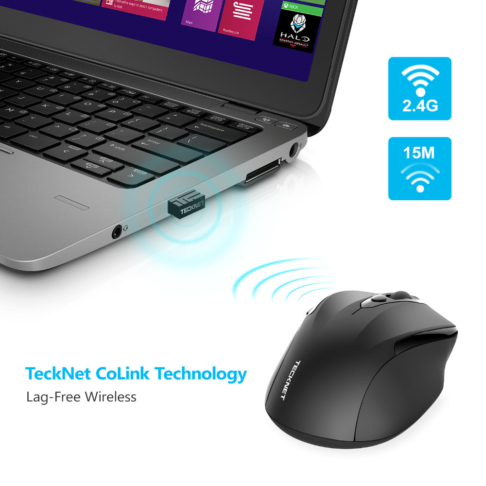 TeckNet Pro 2.4GHz Wireless Mouse Nano Receiver Ergonomiske Mus 6 - Computerudstyr - Foto 4