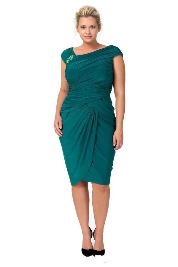 Кутюр, зеленые, с рукавами-крылышками, размера плюс, длина до колена, облегающие, вечерние, выпускные платья для мамы невесты, платья vestidos