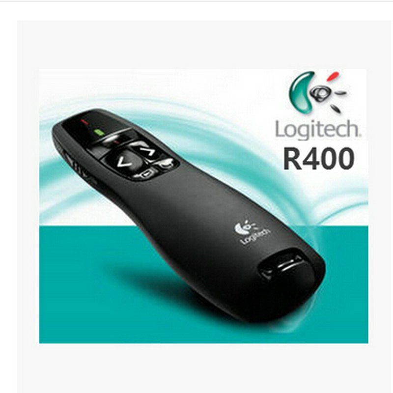 JSHFEI Logitech R400 2,4g Hz USB remoto inalámbrico de RF Powerpoint Control IR PPT presentador puntero láser presentador de presentación de la pluma