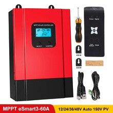 Слежением за максимальной точкой мощности, 60A за максимальной точкой мощности, Солнечный Контроллер заряда 12 V/24 V/36/48 V Авто ЖК-дисплей Дисплей Макс 150V Панели солнечные Вход, и он имеет высокую эффективность зарядки eSmart3