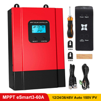 MPPT 60A Solar Charge Controller 12V/24V/36/48V Auto LCD Display Max 150V Solar Panel Input High Efficiency Charging eSmart3