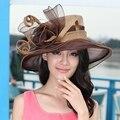 La moda de Nueva Sinamay Sombrero de Las Mujeres de la Vendimia de Las Señoras Floppy Amplia Fedora Sombrero Del Verano para Mujer de Color Marrón Ca Libera El Envío