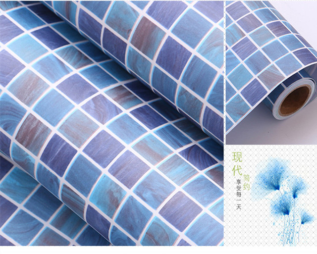 0,45 Mt * 1 Mt Dunkelblau Selbstklebende Tapete PVC Aufkleber Küche  Mosaik Fliesen