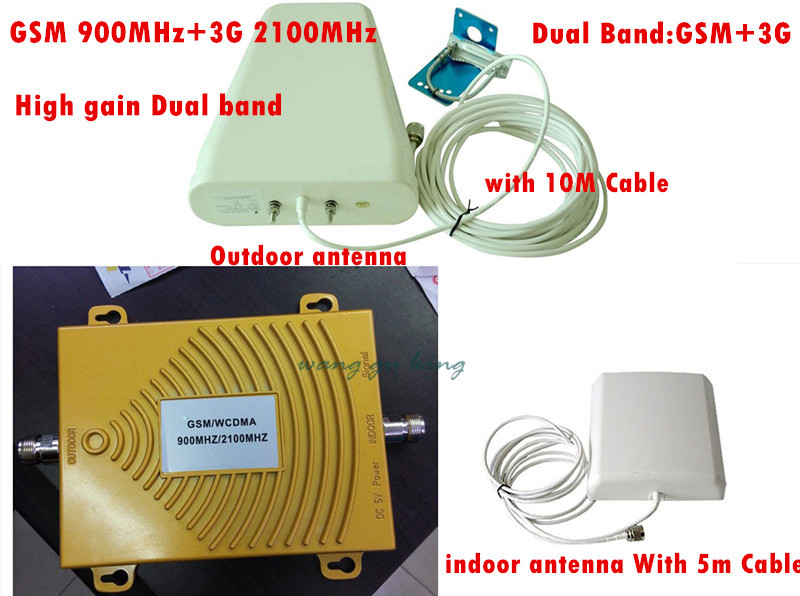 Dual Band 65dbi,2G 3G GSM Mobile Phone Signal Repeater 3G CDMA 2100MHz / GSM 900Mhz GSM 3G Repeater signal booster Full setDual Band 65dbi,2G 3G GSM Mobile Phone Signal Repeater 3G CDMA 2100MHz / GSM 900Mhz GSM 3G Repeater signal booster Full set
