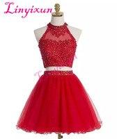 Короткие красные Homecoming платья Холтер линии Двойка аппликация блесток бисером элегантный тюль с открытой спиной дизайнерские платья для вы
