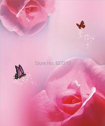 R-2814 печати растягивающиеся потолочные пленки/красная роза фон с бабочкой для украшения стен/потолочное украшение