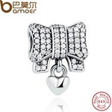 Bamoer auténtica plata de ley 925 del corazón del nudo charm fit original pulsera collar diy accesorios pas244 amp