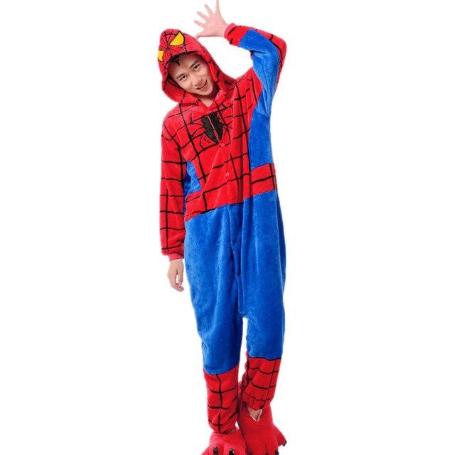 Фланелевые пижамы для взрослых Кигуруми супергерой Человек-паук косплей  костюм унисекс Onesie Пижама Хэллоуин Карнавальный afe82edfcadc0