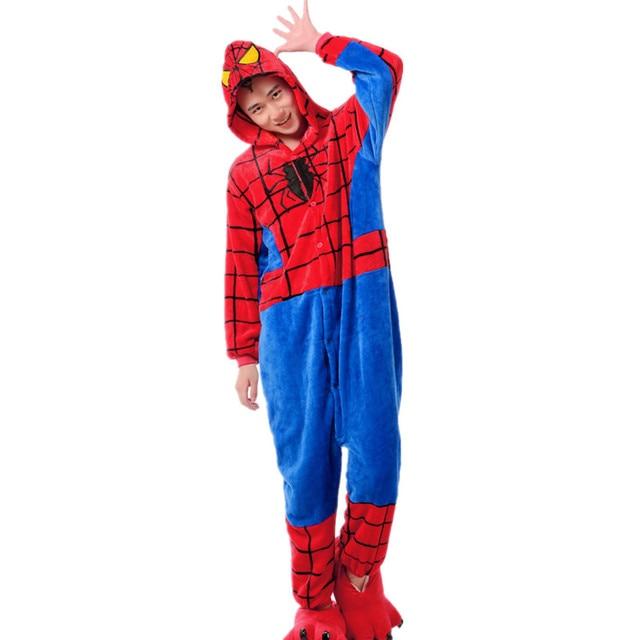 4343927b57ee Adult Flannel Kigurumi Superhero Spiderman Cosplay Costume Unisex Onesies  Pajamas Halloween Carnival Masquerade Party Jumpsuit