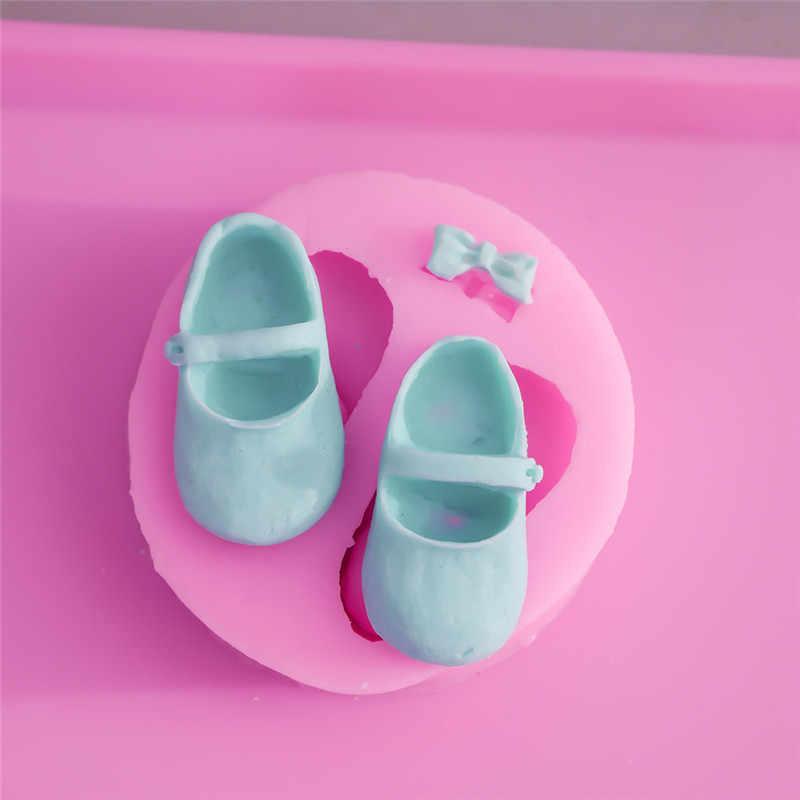 חם Bowknot תינוק נעלי סיליקון שוקולד עובש עוגת פונדנט לקשט שרף ממתקי חימר סבון עובש מטבח אפיית כלים